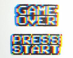 Game Over | Press Start | Perler Hama Beads | Keychain | Magnet | Retro | Glitch | 3D | 8 bit | Pixel Art | Optical Illusion
