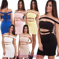 Vestito-donna-miniabito-abito-tubino-aperture-fascia-bandeau-sexy-nuovo-CJ-2004