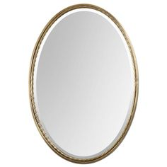 Shop Global Direct 22-in x 32-in Brass Beveled Oval Framed French Wall Mirror at Lowes.com