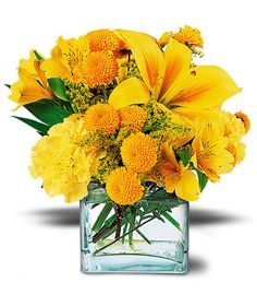Thinking of someone? Let them know they're on your mind with this lovely arrangement of yellow blooms, The 'Sunshine Thoughts' Bouquet.