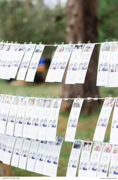 This novel seating chart was made by attaching a variety of cards to pieces of string, with each card showcasing a photo of guests and the number of their table. Wedding Stationery Inspiration, Wedding Inspiration, Wedding Ideas, Flower Crowns, Seating Charts, Invite Your Friends, Beautiful Cakes, Colorful Flowers, Stationary