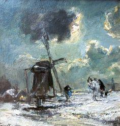 Louis Apol - Molen in besneeuwd landschap