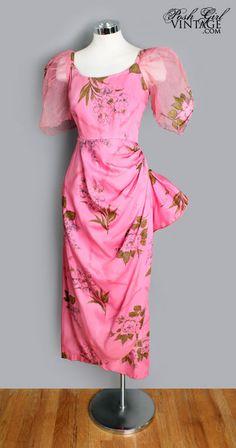 1940's Pink Floral Sarong Dress - M