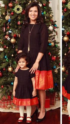 Mom and daughter matching dresses - Indian Fashion Ideas Mom Daughter Matching Dresses, Mom And Baby Dresses, Dresses Kids Girl, Kids Outfits, Mother Daughter Fashion, Saree Dress, Gown Dress, Girl Fashion, Fashion Ideas