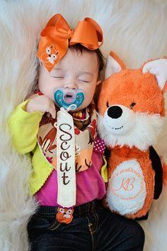 Fox Bandana Bib Fox Baby Girl Bib Embroidered Fox by KenaBows
