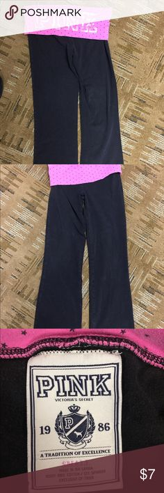 Pink yoga pants size small Pink brand black yoga pants. Very well loved...but they still have a lot of wear left in them! No holes, tears or pulls. No reasonable offers will be refused! PINK Victoria's Secret Pants