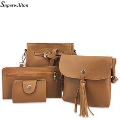 Soperwillton Brand Women's Bag Set Bolsas Feminina Solid Soft PU Femme Designer Messenger Shoulder Bags 4 Piece Set Female #1142 //Price: $29.00 & FREE Shipping //     #streetstyle #beautiful
