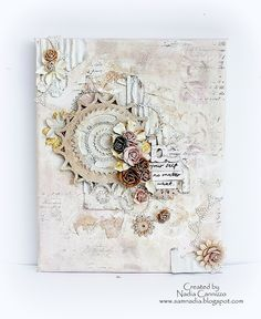 Be Yourself Canvas by Nadia Cannizzo ~ With build a canvas tutorial. Featuring Donna Salazar Designs GCD Studios Mix'd Media Stax 2, Fun & Funky Chipboard Alphas; Want2Scrap Sprightly Sprockets Rhinestones, Sprightly Sprockets Chipboard, Corrugated Board, Leaves stencil; Clearsnap Mix'd Media Inx: http://donnasalazardesigns.blogspot.com/2013/09/our-new-full-time-member-of-dsd-dt-nadia.html