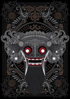 Barong illustration in steps Arte Tribal, Aztec Art, Japanese Tattoo Art, Japanese Art, Dark Fantasy Art, Art Et Illustration, Graphic Design Illustration, Barong Bali, Mask Drawing