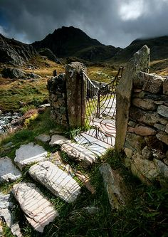 North Wales : Gateway to Tryfan (by Angie Latham)the gate marks the start of the ascent to the imposing Tryfan mountain in the distance.