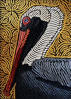 "Brown Pelican painted woodcut block  on salvaged Douglas Fir 11.25"" x 15.5"" Lisa Brawn 2014"