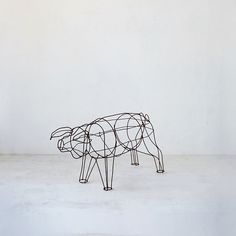 Antique Iron Topiary Form, Pig from Terrain