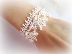 Ivory lace bracelet flowers lace bracelet by MalinaCapricciosa