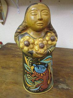 Maria #3 Clay Figure -Mexican Folk Art-Handmade-Handpainted-Garden-So Cute