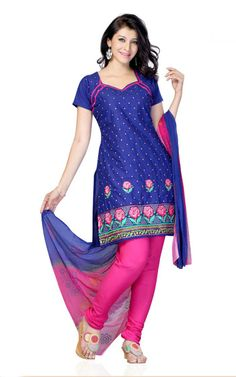 BLUE & PINK COTTON SALWAR KAMEEZ - DF 104