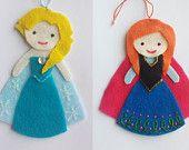 SALE Frozen Elsa and Anna Pair Disney Princess Felt Air Fresheners / Christmas Ornament / Felt Doll / Essential Oils Air Freshener