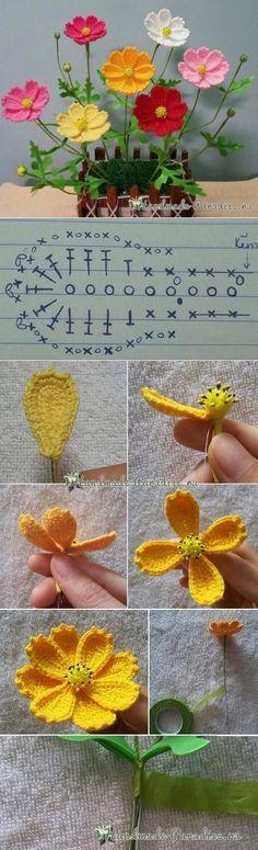 Весенние полевые цветы крючком. Схема - Handmade-Paradise