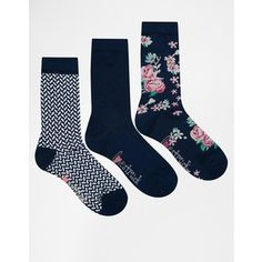 Lovestruck 3 Pack Socks in Blue Vanilla Floral