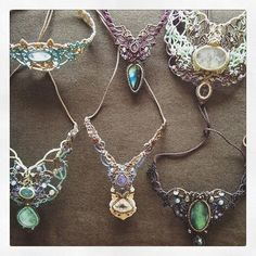 マクラメネックレスコレクション。  #MacrameJewelryMANO  #macrame #マクラメ #handwork #handmade #bohemian #hippie #gypsy #ethnic #tribal #naturalstone #gemstone #stone #天然石 #accessories #collection #necklace