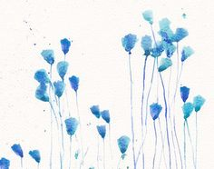 Kunst Malerei - PRINT Original Aquarell Blume 8 x 11, floral Sommer-Wand-Dekor-Abbildung - blau Türkis abstrakt blumen Wand Dekor