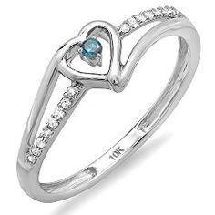 0.10 Carat (ctw) 10k White Gold Round Blue & White Diamond Bridal Promise Heart Split Shank Ring 1/10 CT