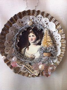 Handmade Christmas Ornament Angel Victorian Style by ParisPluie