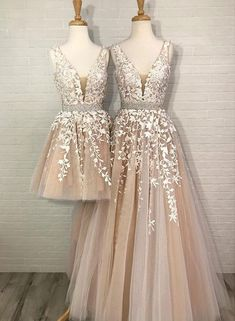 Champagne v neck tulle lace long prom dress, homecoming dress – trendty