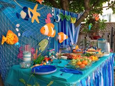 Decor for under the sea theme featuring items Doug at the dollar and party stores.