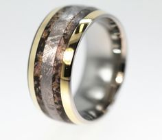 Dinosaur Bone Ring with Gibeon Meteorite and 14K Gold Inlay - Very Rare and Unique - Signature Series. $896.00, via Etsy.