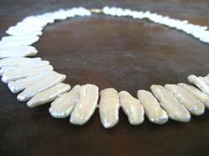 Stunning 14k gold and Natural white biwa pearl necklace with fantastic luster on Etsy $225  from HouseOfRene
