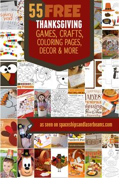 55 Free Thanksgiving Games, Crafts, Coloring Pages, Decor, and More - Spaceships and Laser Beams