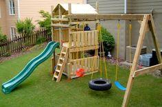 diy swing set plans ideas for playhouse, simple for kids in backyard Backyard Swing Sets, Backyard Playset, Diy Swing, Backyard For Kids, Backyard Ideas, Garden Playhouse, Garden Kids, Backyard House, Swing Set Plans
