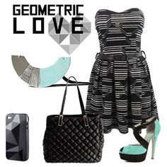 Abito --->http://bit.ly/1nQrnGw Borsa --->http://bit.ly/1tPnVmD  #geometric #black #aquamarine #newcollection #fallwinter #outfit