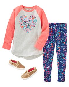 A raglan tunic plus pretty printed leggings equals effortless style. Plus, she'll love the eye-catching sparkle in her slip-on shoes!