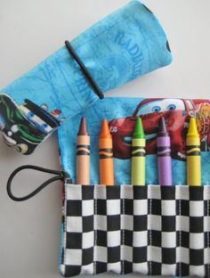 Crayon Roll Wallet Disney Cars Includes 8 by adorableblessings