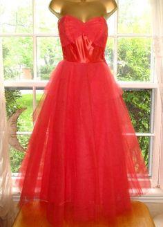 Vtg 1950s Strapless Ruffled Tulle Full Skirt Prom Party Princess Gown Dress #FredPerlberg