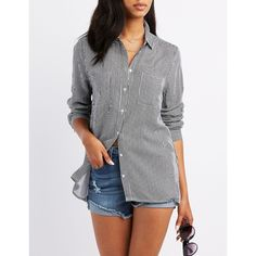 Charlotte Russe Striped Collard Pocket Button-Up Shirt ($22) ❤ liked on Polyvore featuring tops, black, striped long sleeve shirt, charlotte russe, button up shirts, long-sleeve shirt and striped button-down shirts