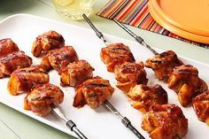 Bring Barbecue Chicken and Peach Kabobs with Bacon o your next summertime barbecue. Bacon and BBQ sauce give these chicken and peach kabobs their smoky flavor.