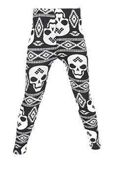 L4U Girls Dia De Los Muertos Brushed Printed Fashion Leggings. Available in two sizes: S/M, and L/XL.