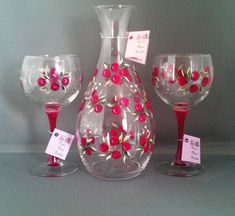 0c748f16c00 Cranberry Red Wine Decanter Set by DadsGlassGarden on Etsy