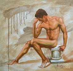Hongtao     Huang - original oil painting gay man body art-male nude -016