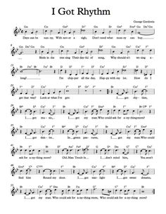 Free Sheet Music - Free Lead Sheet - I Got Rhythm by George and Ira Gershwin