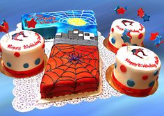 Spiderman Cake and mini cakes Mini Cakes, Cupcake Cakes, Spiderman Birthday Cake, Birthday Cakes, Marvel Cake, Boy Birthday Parties, Birthday Ideas, Kid Parties, Number Cakes