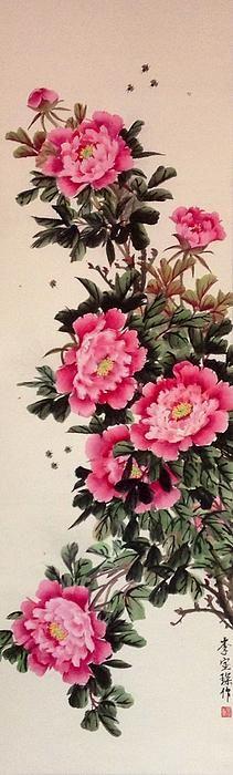 Title  Pink Peony 1 Of 4   Artist  Lin Hai   Medium  Painting - Chinese Painting