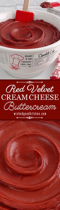 Velvet Cream Cheese Buttercream ~ The best Red Velvet Frosting recipe! Our popular Cream Cheese Buttercream with just the right amount of rich cocoa and natural red food color for spot-on color and flavor of classic Red Velvet Cake. It pipes beautiful Just Desserts, Delicious Desserts, Dessert Recipes, Delicious Cookies, Recipes Dinner, Food Cakes, Cupcake Cakes, Cake Icing, Cream Cheese Buttercream Frosting