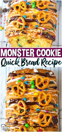 Monster Cookie Bread is everything you love about Monster Cookies, in bread form! Loaded sweet bread with chocolate Best Easy Dessert Recipes, Easy Cookie Recipes, Fruit Recipes, Easy Desserts, Easy Dinner Recipes, Delicious Desserts, Best Bread Recipe, Quick Bread Recipes, Cooking Recipes