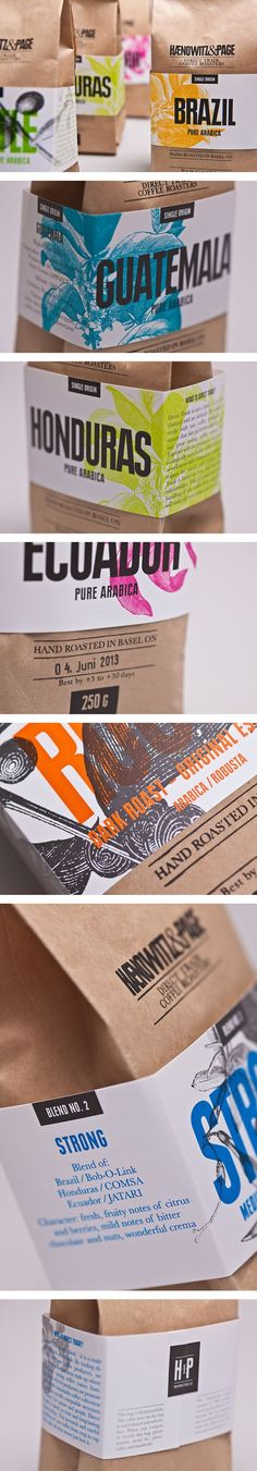 Haenowitz & Page Coffee packaging reflects the different countries the coffee comes from: