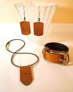 DIY tooled leather Jewelry set from a thrift store belt