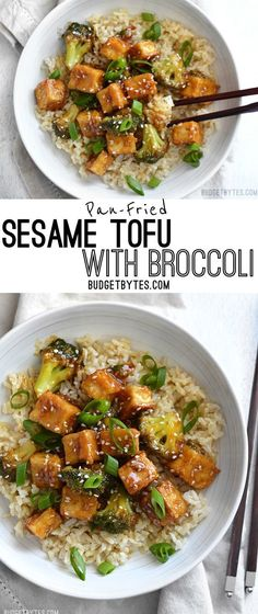 This Pan Fried Sesame Tofu is seriously crispy and drenched in a tangy sesame sauce. Broccoli florets and cooked rice make it a meal. Step by step photos. - BudgetBytes.com