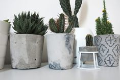 DIY Cement Planters with Aztec Print